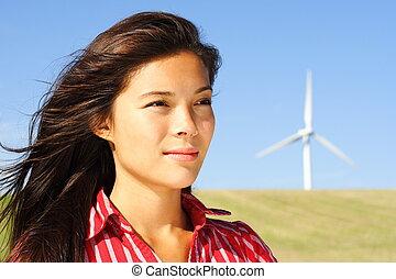 turbina, mujer, viento