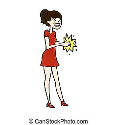comic cartoon woman clapping hands - retro comic book style...