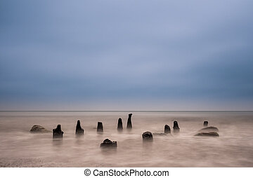 Groynes on the Baltic Sea - Groynes on shore of the Baltic...