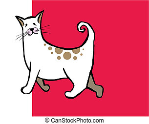 Cute cat with curly tail on red and white background