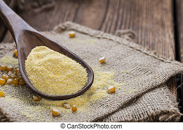 Cornmeal - Heap of fresh Cornmeal as detailed close-up shot