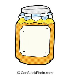 comic cartoon jar of marmalade - retro comic book style...