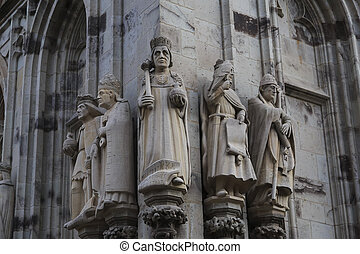 Statues of the saints and kings on cathedral in Cologne