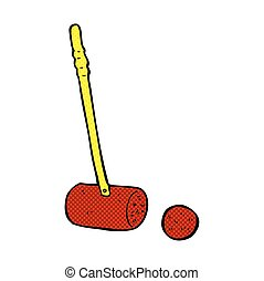 comic cartoon croquet mallet and ball - retro comic book...
