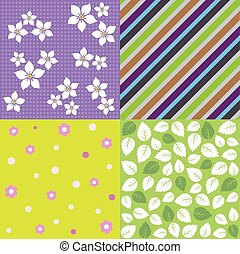 Four seamless spring patterns