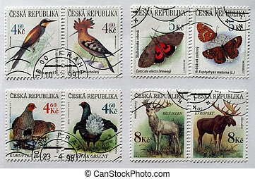 Czech Republic mail postage stamps with animals (deer, moose, butterfly, birds)