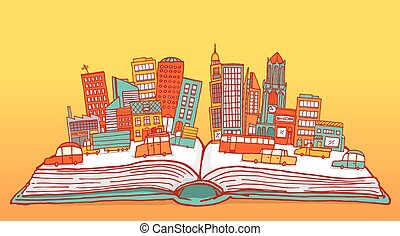 Open book displaying a busy city - Cartoon illustration of...