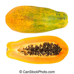 papaya fuit isolated on white backgound - papaya fuit cut in...