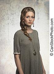 fashion girl with blonde braid