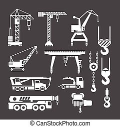 Set icons of crane, lifts and winches isolated on grey