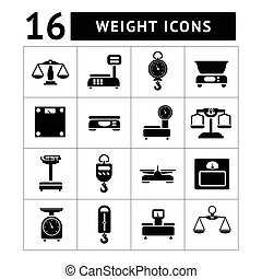 Set icons of weights and scales isolated on white
