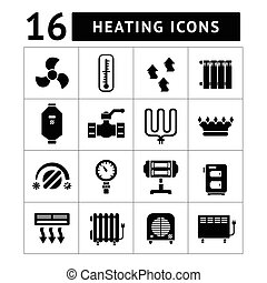 Set icons of heating isolated on white