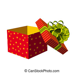 Open gift box - Red open gift box with green and golden...