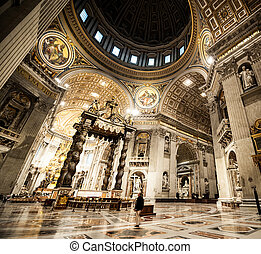 St. Peter's Basilica in Vatican inside - interior St....
