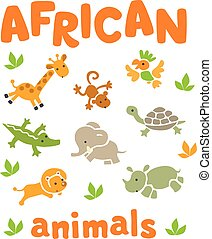 Set of funny african animals - Set of funny running african...