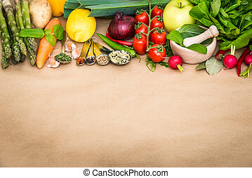 vegetables - Fresh vegetables on a brown background