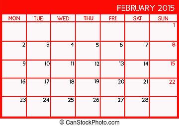 February  2015 - Blank Calendar of February, 2015