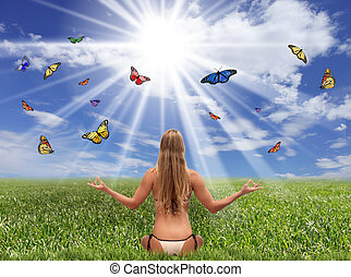 Fantasy Field of Butterflies and Sunlight - Bright Sunlit...