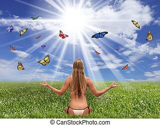 Fantasy Field of Butterflies and Sunlight - Bright Sunlit...