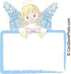 schattig, engel, uitnodigen, &, plek, kaart