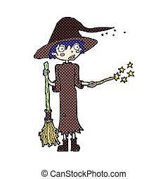 comic cartoon witch casting spell - retro comic book style...