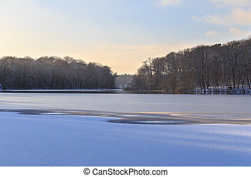 Winter Lake Landscape - View across partially frozen Lake...