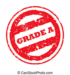 Used Grade A stamp - Red used grade A stamp, isolated on...