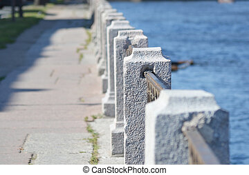 Fence of embankment of Fontanka River, StPetersburg, Russia...