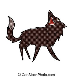 comic cartoon snapping wolf - retro comic book style cartoon...