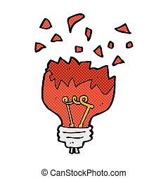 comic cartoon red light bulb exploding - retro comic book...