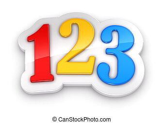 Colorful numbers 123 on white background with clipping path