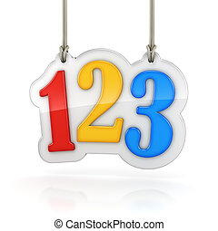 Colorful numbers 123 hanging on white background with...