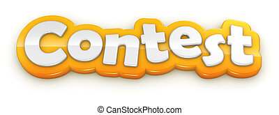 Contest yellow word text on white background with clipping...