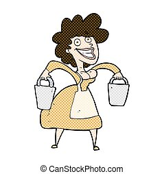 comic cartoon milkmaid carrying buckets - retro comic book...