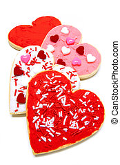 Valentines Day cookies - Group of colorful heart-shaped...