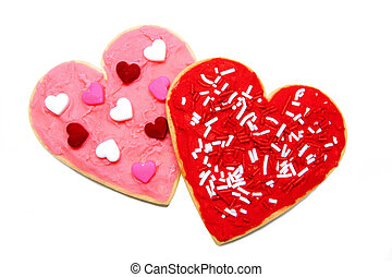 Valentines Day cookies - Two Valentines Day cookies isolated...