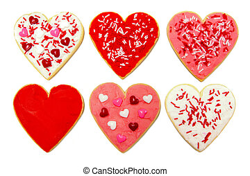 Valentines Day cookies - Six individual heart-shaped cookies...