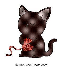 Komikus karikatúra csinos fekete macska játék noha labda
