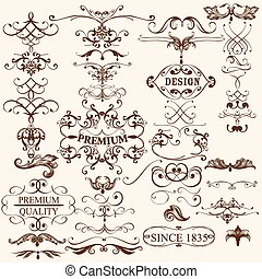 Collection of vintage decorative ca - Vector set of...