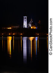 Bled - Night shoot of the church on the small island in the...