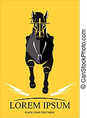 Running Black Horse Black Stallion - Front view of running...