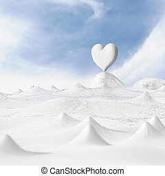 Strengthened on the cold heart. - 3d rendering of the heart...