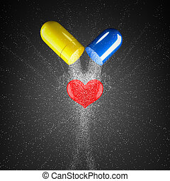 Medicines. - 3d render concept capsules and heart.