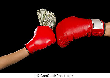 Boxing for Money. - Boxing glove and a hand full of cash.