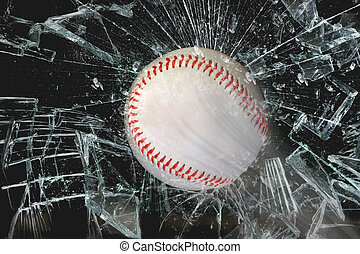 Baseball through glass. - Fast baseball through glass...