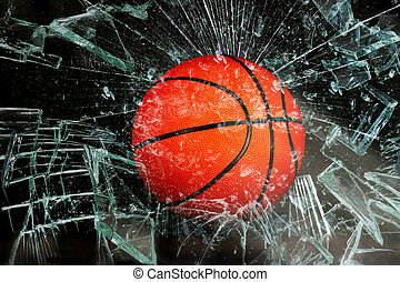Basketball through glass. - Basketball breaking glass.