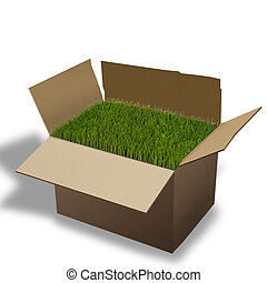Moving Box. - Moving box with green grass.