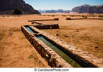 Irrigation in Wadi Rum - A canal brings water down the...