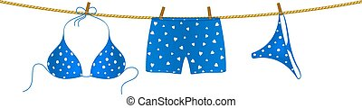 Bikini and boxer shorts on rope - Blue bikini suit with...