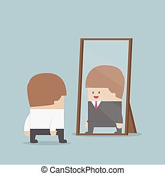 Businessman see his successful future in the mirror, VECTOR,...
